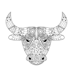 Head bull coloring for adults vector