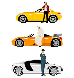 Arab men and expensive cars vector