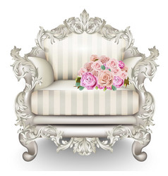 Baroque luxury armchair rich furniture carved vector