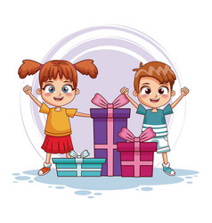 Boy and girl with birthday gifts vector