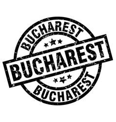 bucharest black round grunge stamp vector image vector image