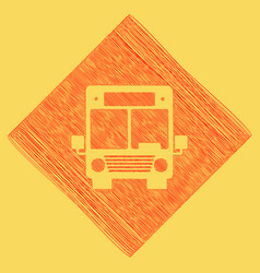 Bus sign red scribble icon vector