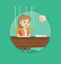 business woman marionette on ropes working vector image vector image