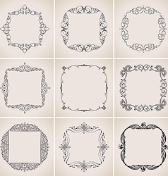 Calligraphic frames set and page decoration vector image