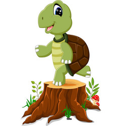cartoon turtle posing on tree stump vector image