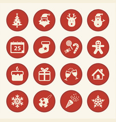 Christmas and happy new year icons set vector
