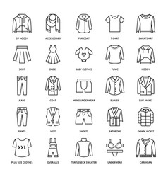 Clothing fasion flat line icons mens womens vector