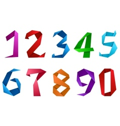 Digits and numbers in origami style vector image