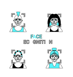 Face recognition icons set biometric vector