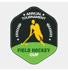Field hockey cup logo sport badge with man vector image