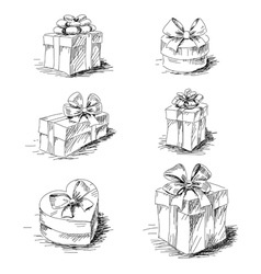 Gift boxes sketch collection vector image vector image