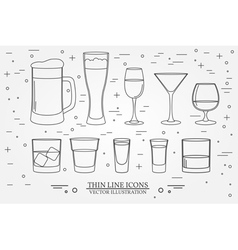 Glasses for alcoholic drinks beverage cocktail vector