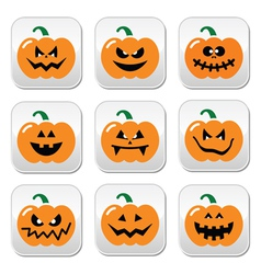 Halloween pumpkin buttons set vector