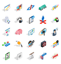 Hi tech icons set isometric style vector