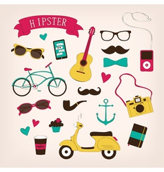 Hipster set icons vector image