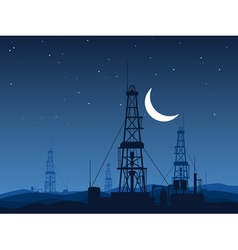 Oil and gas rigs over night desert vector image vector image