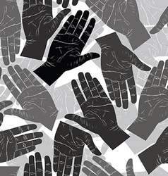 Open hands searching each other to shake seamless vector