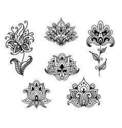 Outline floral paisley design elements vector