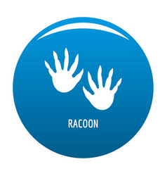 Racoon step icon blue vector