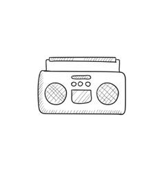 Radio cassette player sketch icon vector image