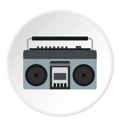 Retro tape recorder icon flat style vector image
