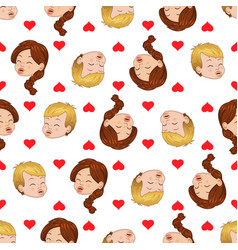 Seamless pattern of kissing boy and girl liking vector