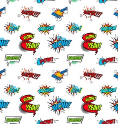 Set of comic text Pop art style phrases Seamless vector image vector image