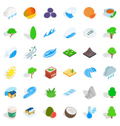 Small tree icons set isometric style vector