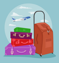 Stack of luggage with suitcase over airplane vector