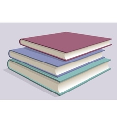 Stack of multicolored books Three textbooks vector image vector image
