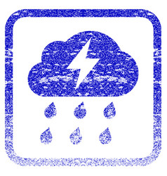 Thunderstorm framed textured icon vector