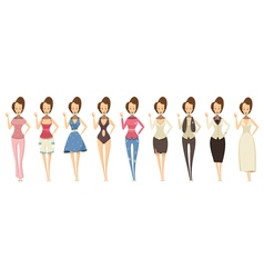 Woman In Various Outfits Set vector image