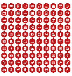 100 device app icons hexagon red vector