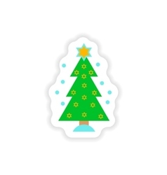 Paper sticker on white background hanukkah tree vector