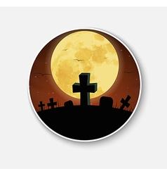 Sticker icon for halloween night scenery vector