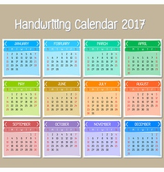 Basic handwriting calendar 2017 vector