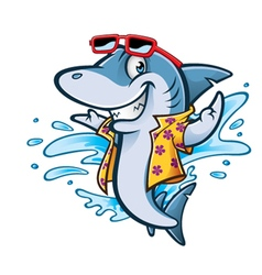 Cartoon shark beach vector