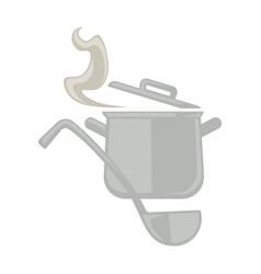 Metal pot and serving spoon vector