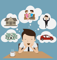 businessman dream at coffee break cartoon vector image