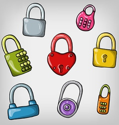 Set of cute cartoon hand drawn colorful padlocks vector