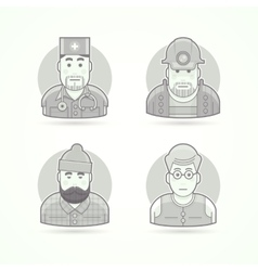 Doctor mines worker lumberjack teacher icons vector