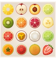 Set of fruit halves icons vector