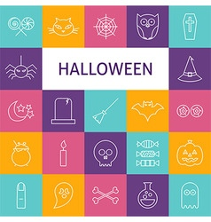 Line art modern halloween holiday icons set vector