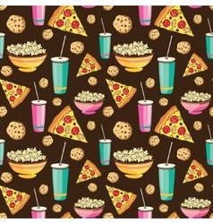 Colorful sleepover movie night party food vector