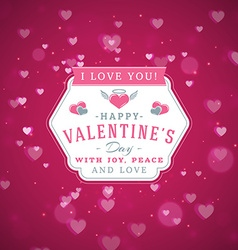Happy valentines day retro typographical badge vector