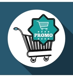 Shopping cart and promo design vector