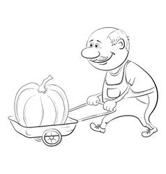 Men driven truck with pumpkin vector