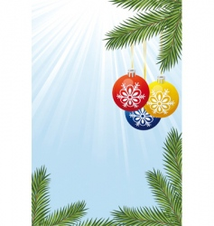 Christmas tree branch and toy vector