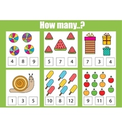Counting educational children game how many vector