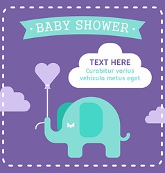 Baby shower invitation template with an elephant vector image